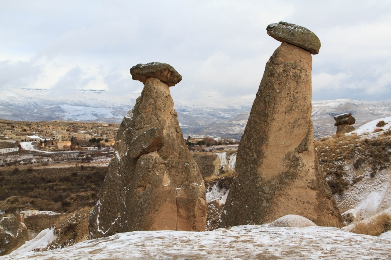 Stone pinnacles in Cappadocia, Turkey