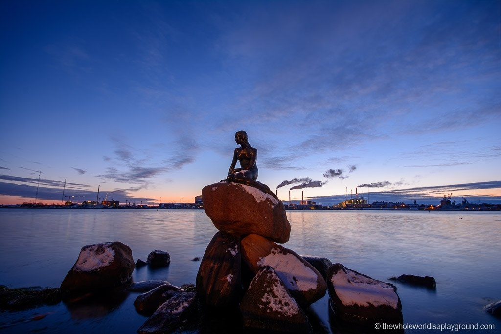 The Little Mermaid statue in Copenhage in winter