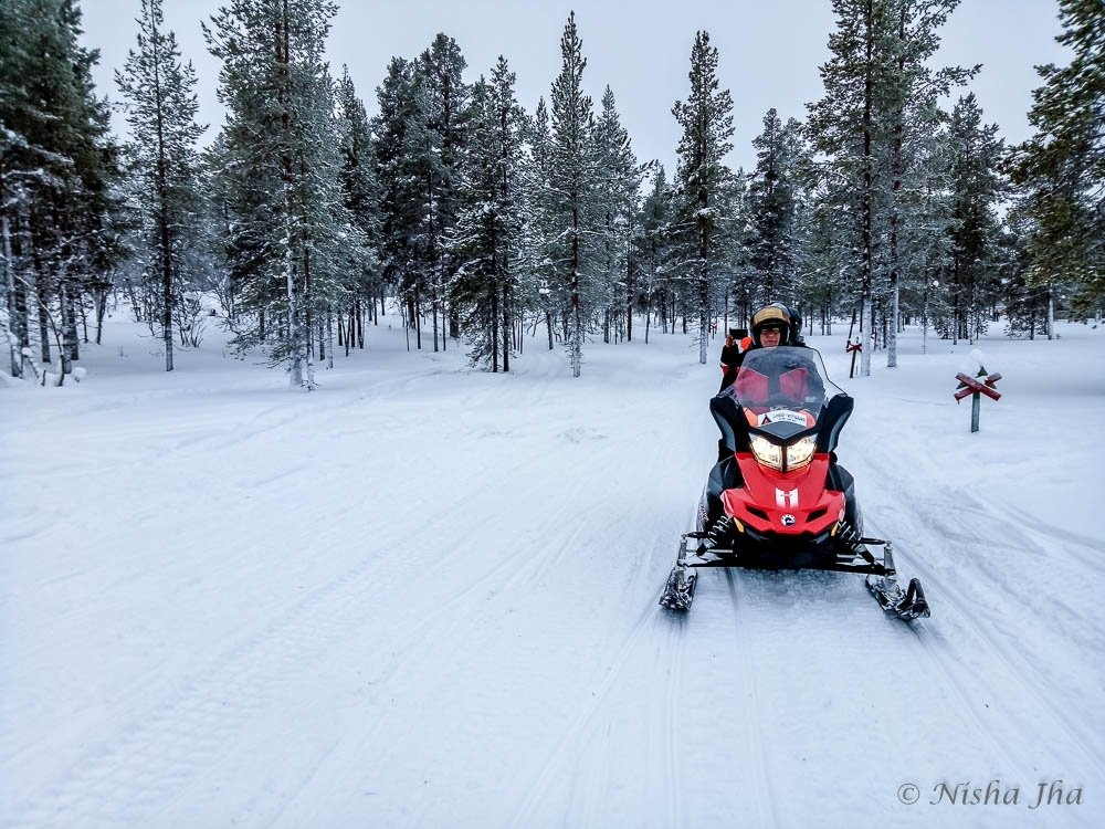 Snowmobile in Lapland, Finland