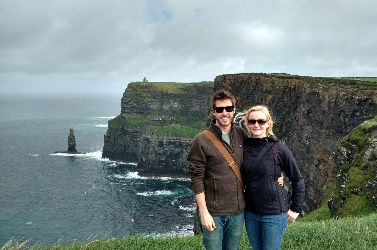 Tom and Jasmin at the Cliffs of Moher in Ireland.