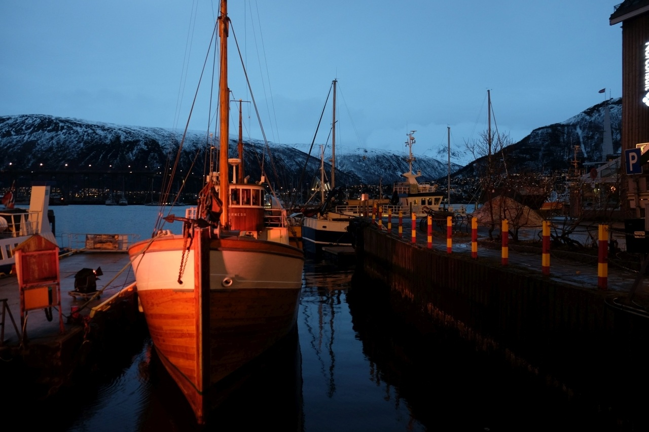 Wooden boats in Tromso's port, Norway