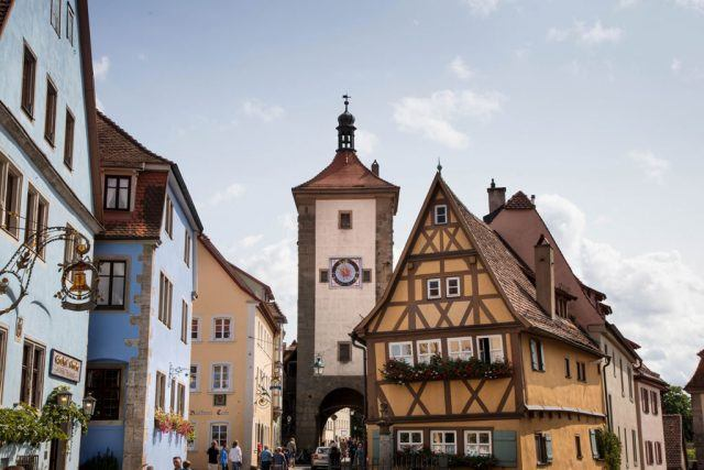 Plonlein, or Little Square, with the old clock tower in the background - Rothenburg Attractions