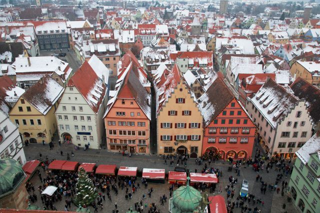 Birds-eye view of Rothenburg Christmas Market