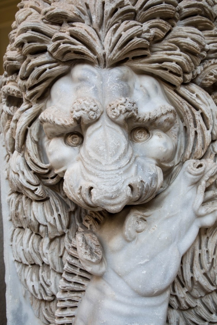 Marble lion killing a horse