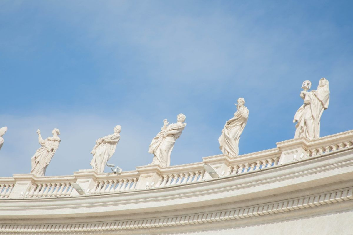 5 Saint statues of the Vatican City Italy