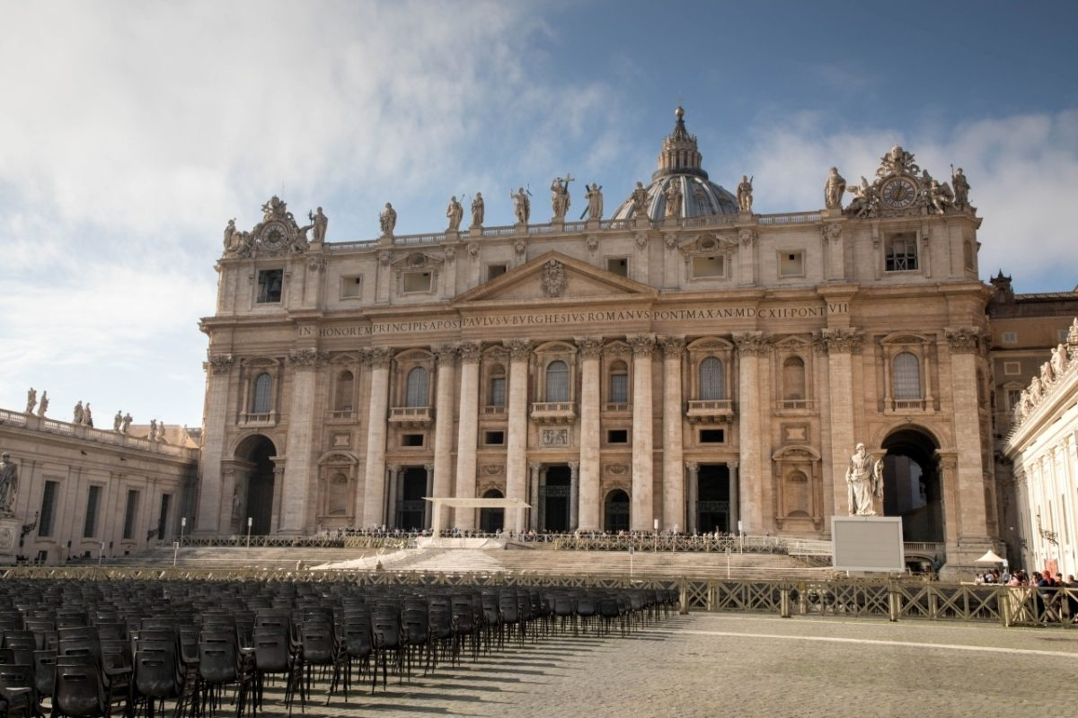Chairs set for a papal audience.
