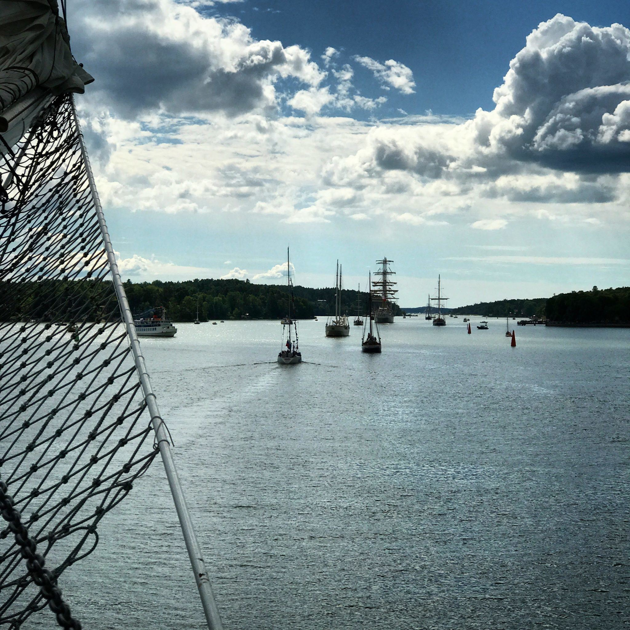 Leaving the harbor, the other tall ships and small boats are behind us.