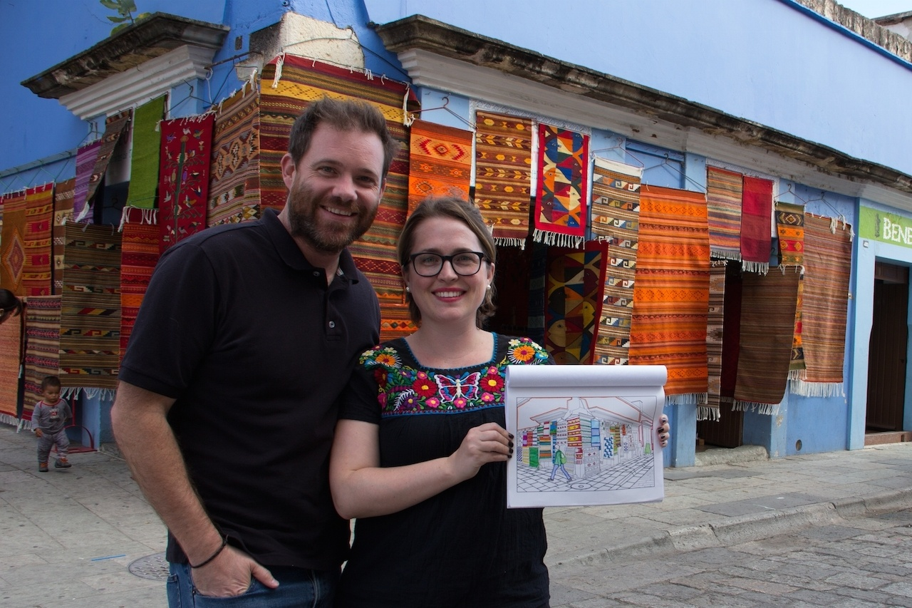 Katie and Geoff with their Adult Coloring Book.
