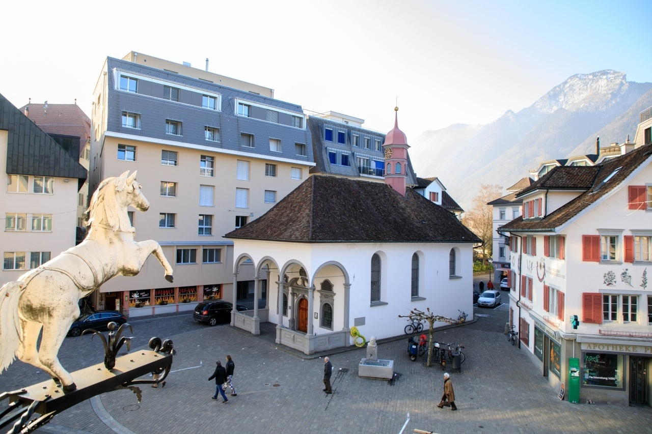 Horse statue and buildings of Brunnen.