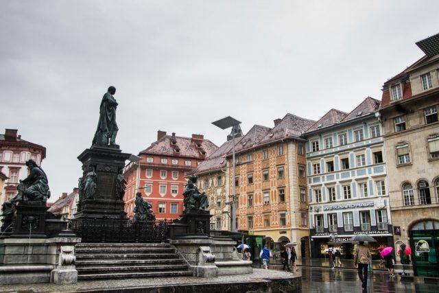 Graz Old Town is just splendid, even in the rain.