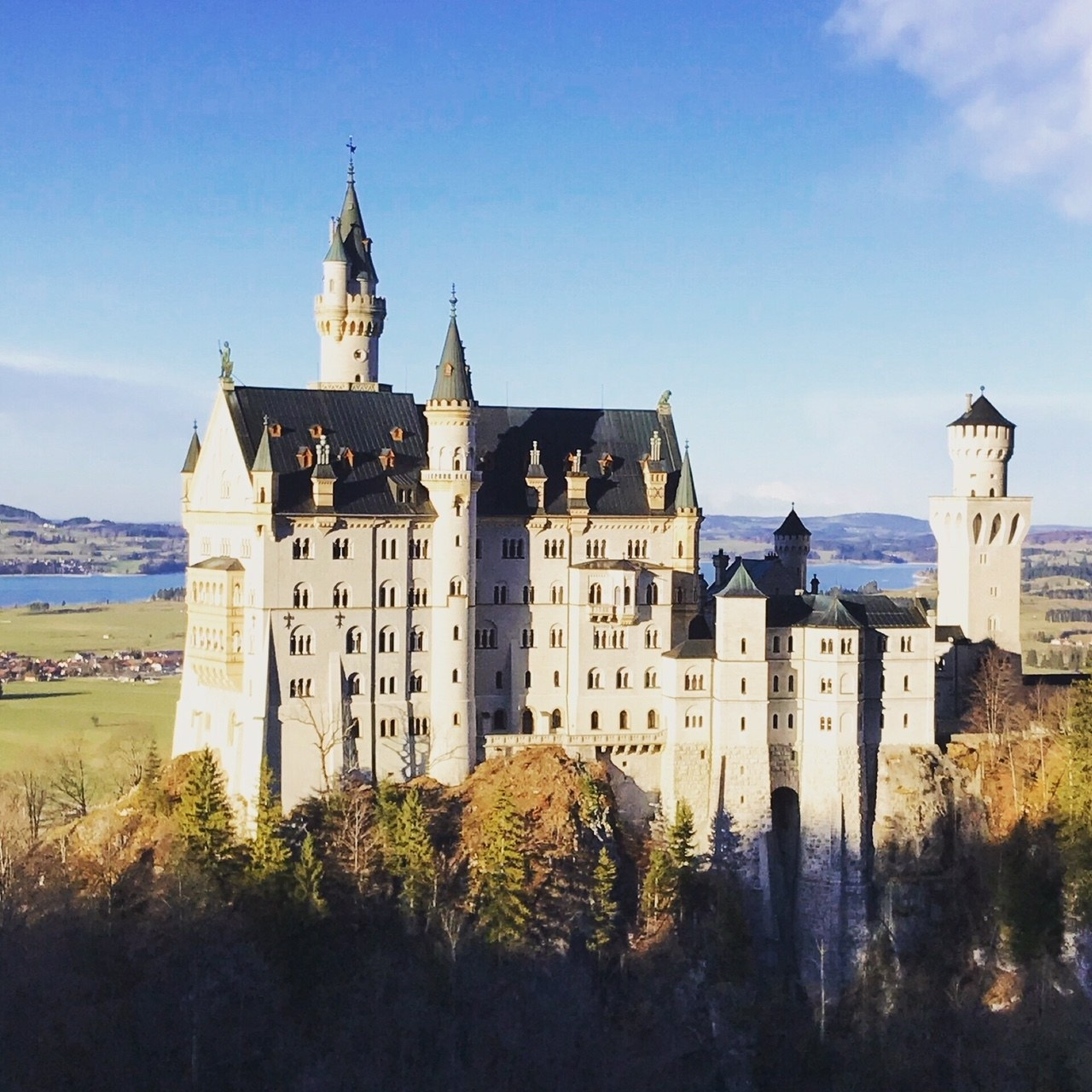 Neuschwanstein Castle glows in the German spring sun.