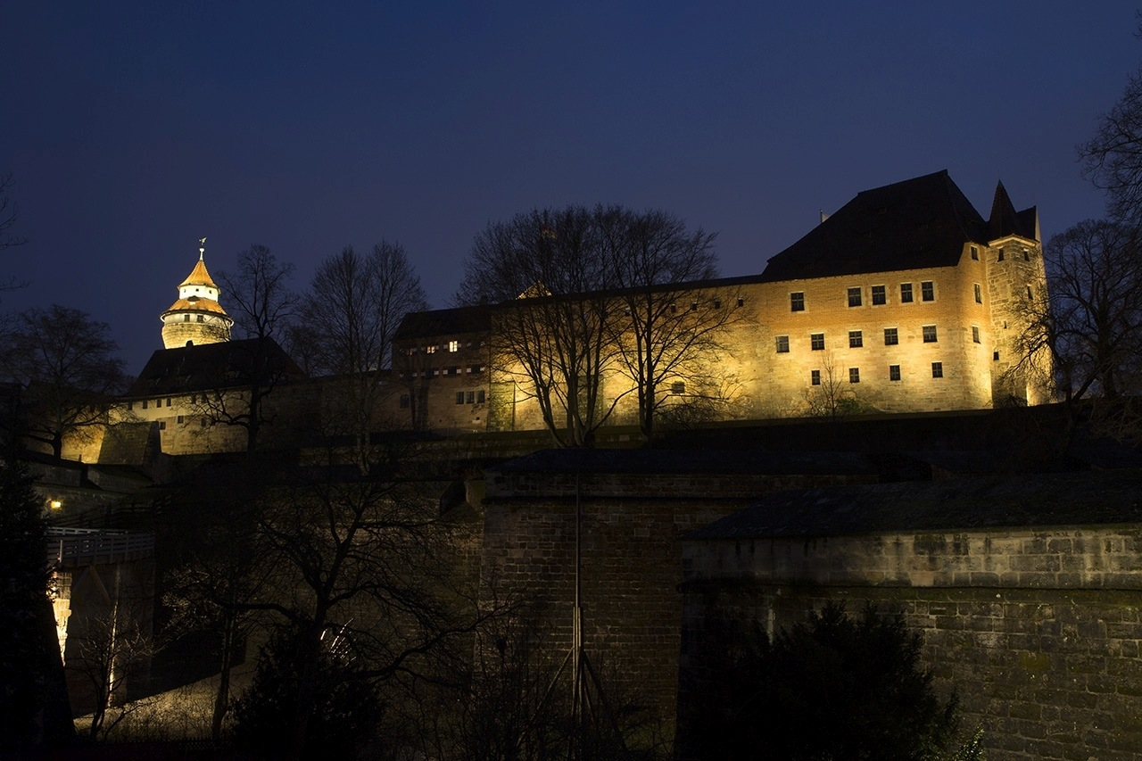 Nuremberg city walls at night