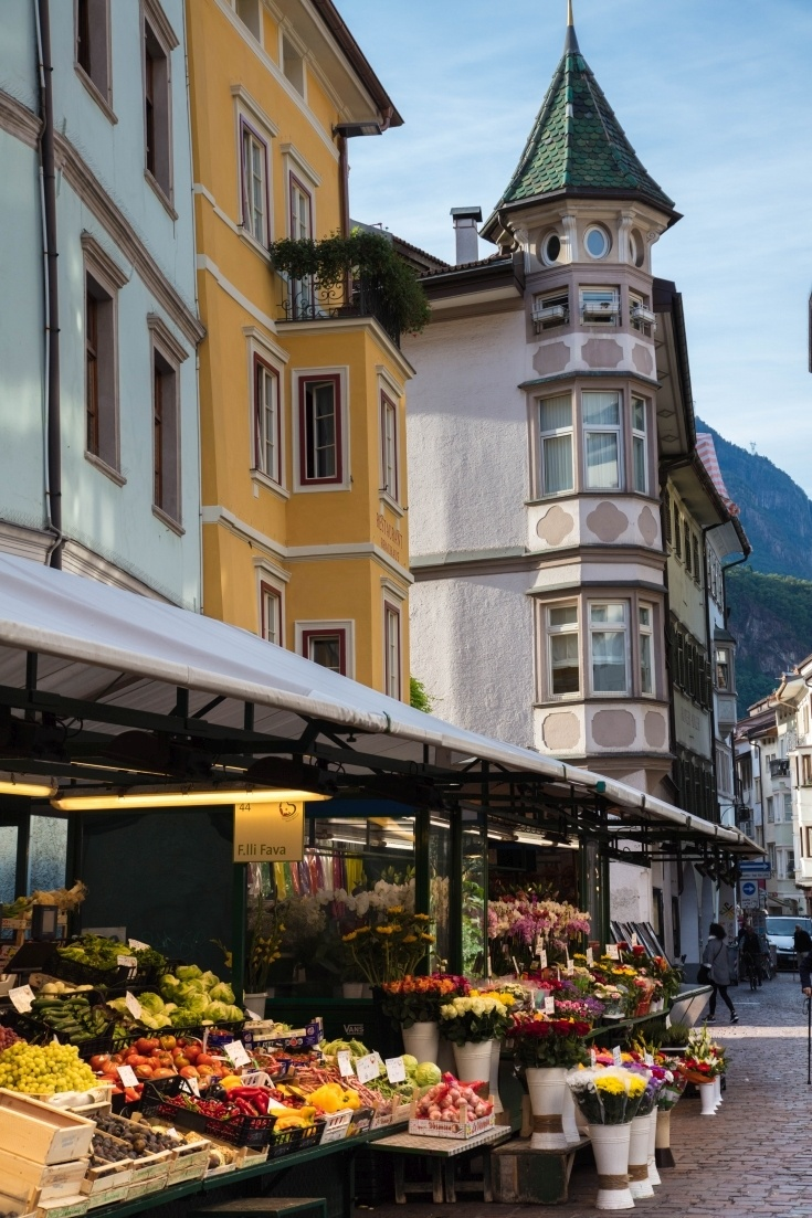 Bolzano's fresh fruit and vegetable markets, flea markets, farmer's markets, there something going on nearly every day of the week.