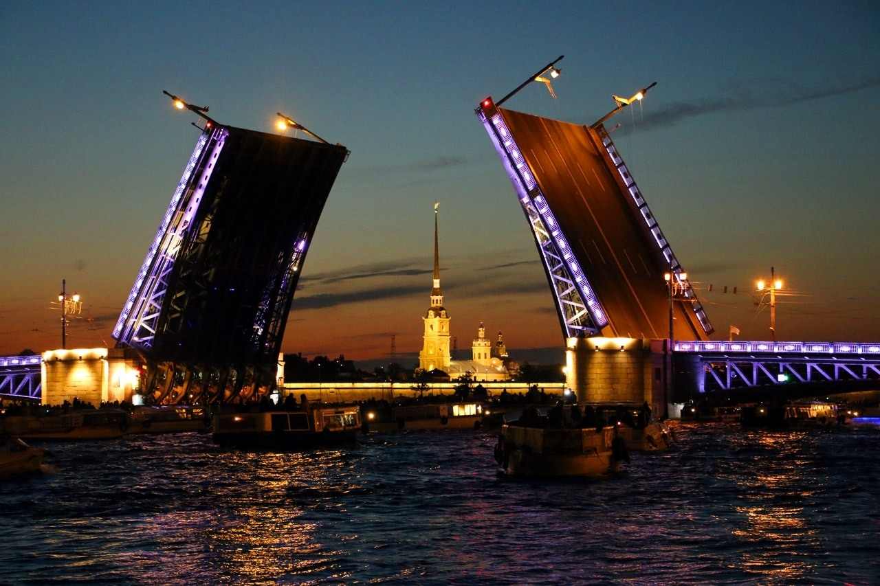 A Bridge raises in St. Petersburg, a great European summer destination!