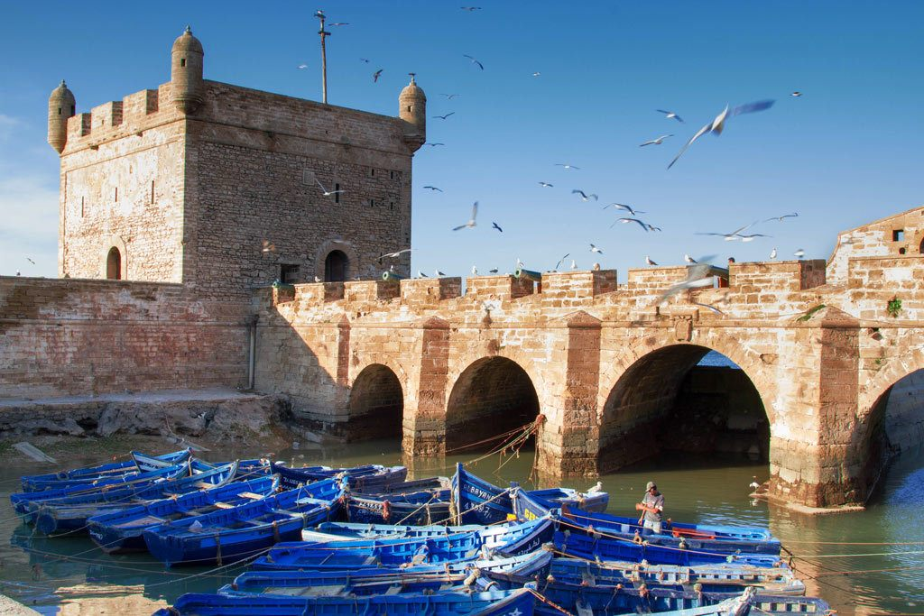 Fishing boats and castle walls