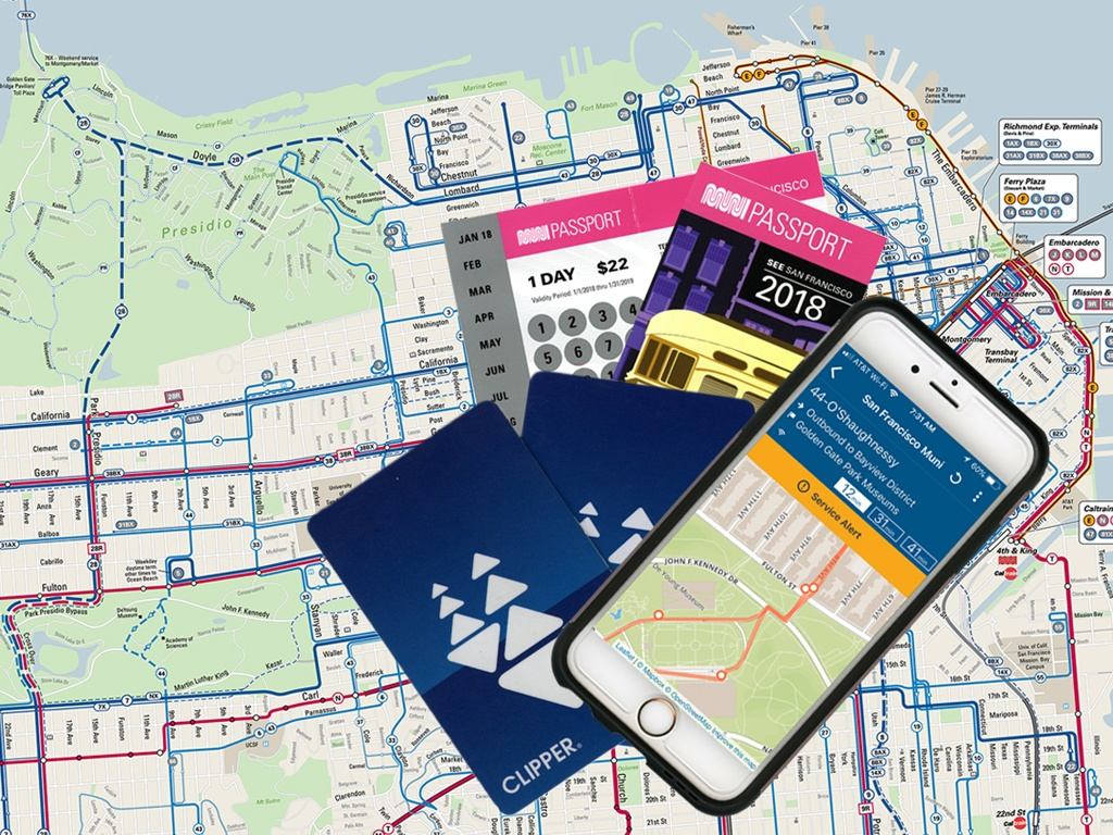 On San Francisco public transit, the Clipper Card or (Visitor) Muni Passport take care of the fare and the NextMuni app provides routes and arrival times