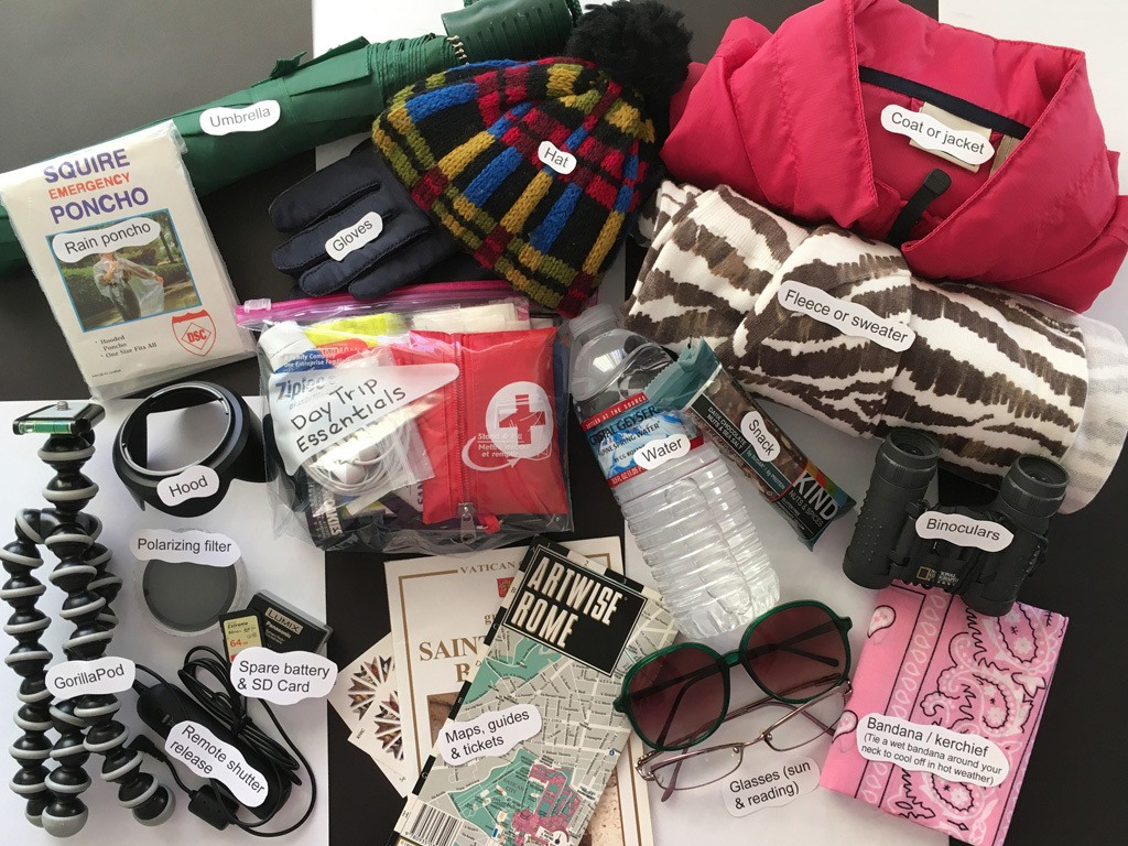 A display of all the items you could put in your day bag for a daytrip