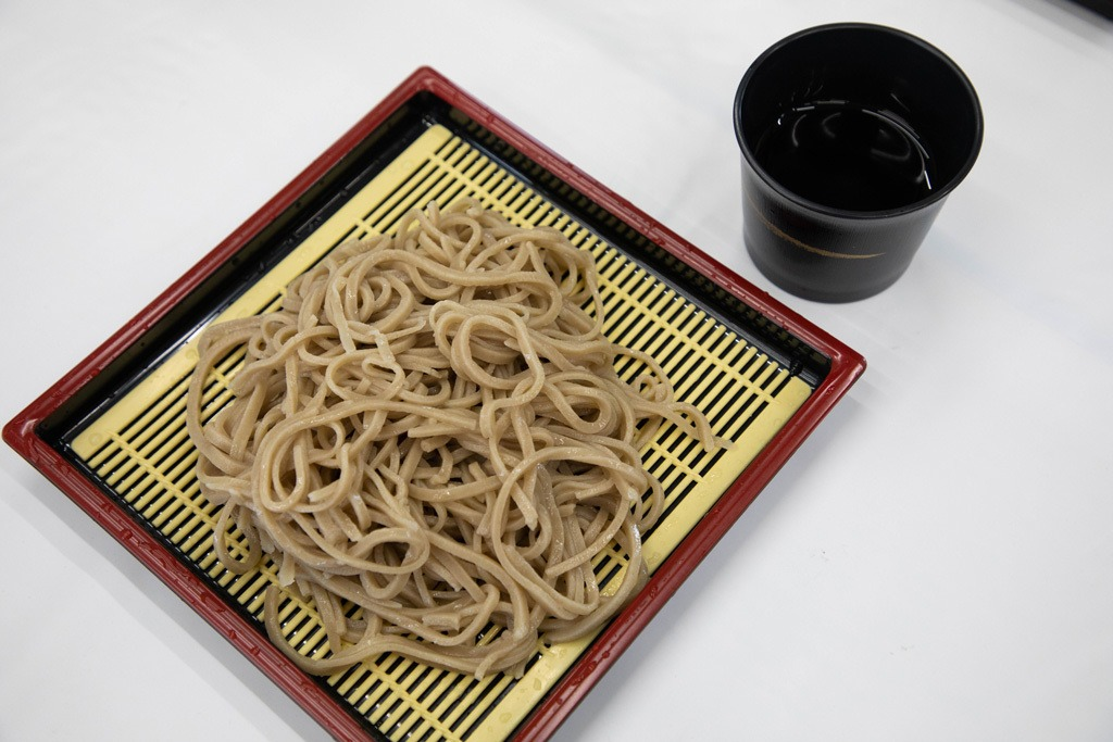 With high nutritional value, soba noodles are celebrated each September in the Nagano Prefecture. The noodles are shown here with its tasty soba broth to dip your cold noodles into.