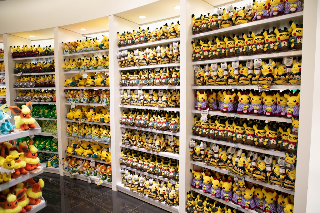 Shelves of plush toys for sale at the Pokemon Center