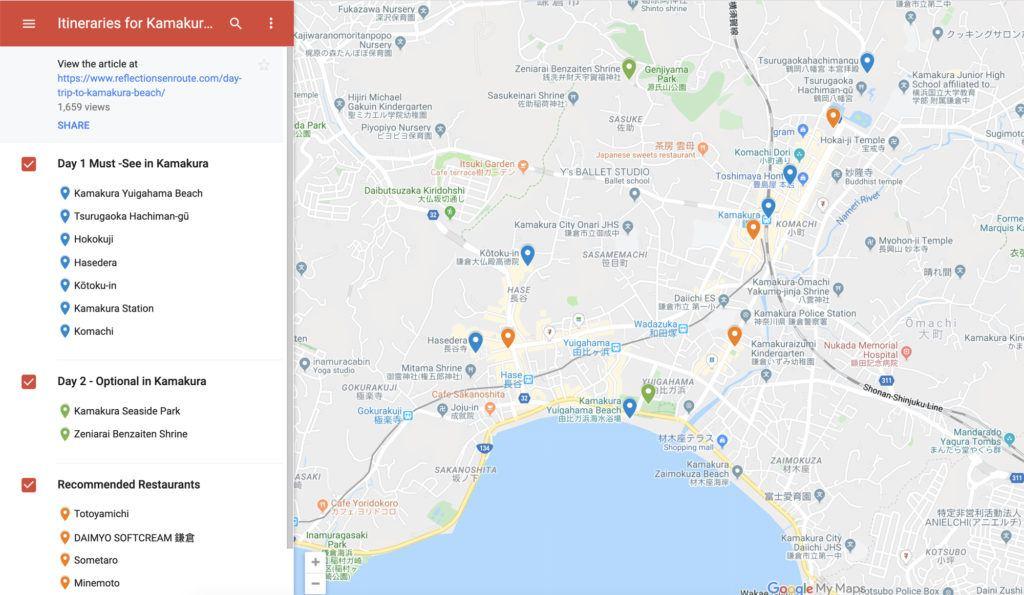 Map of Kamakura Itineraries