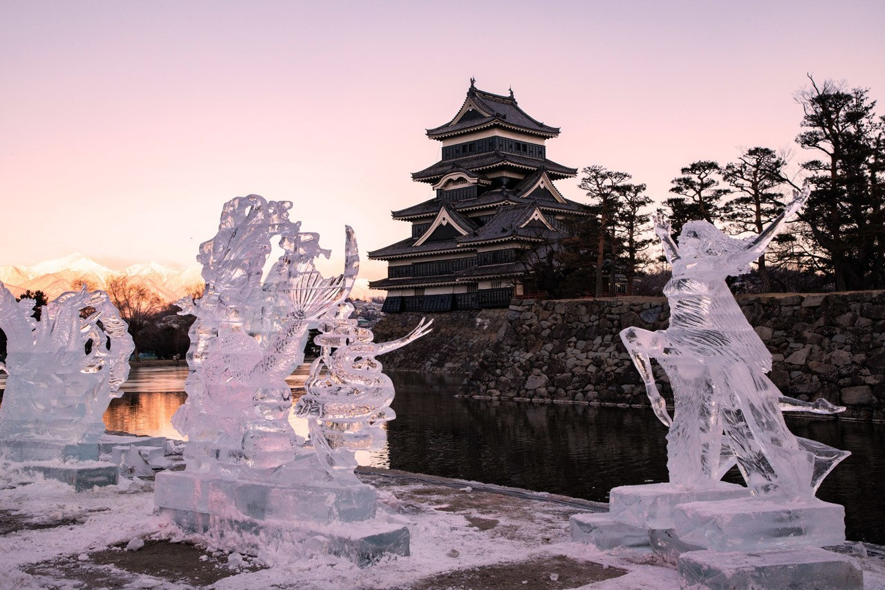 Ice Sculptures in front of the Matsumoto Castle