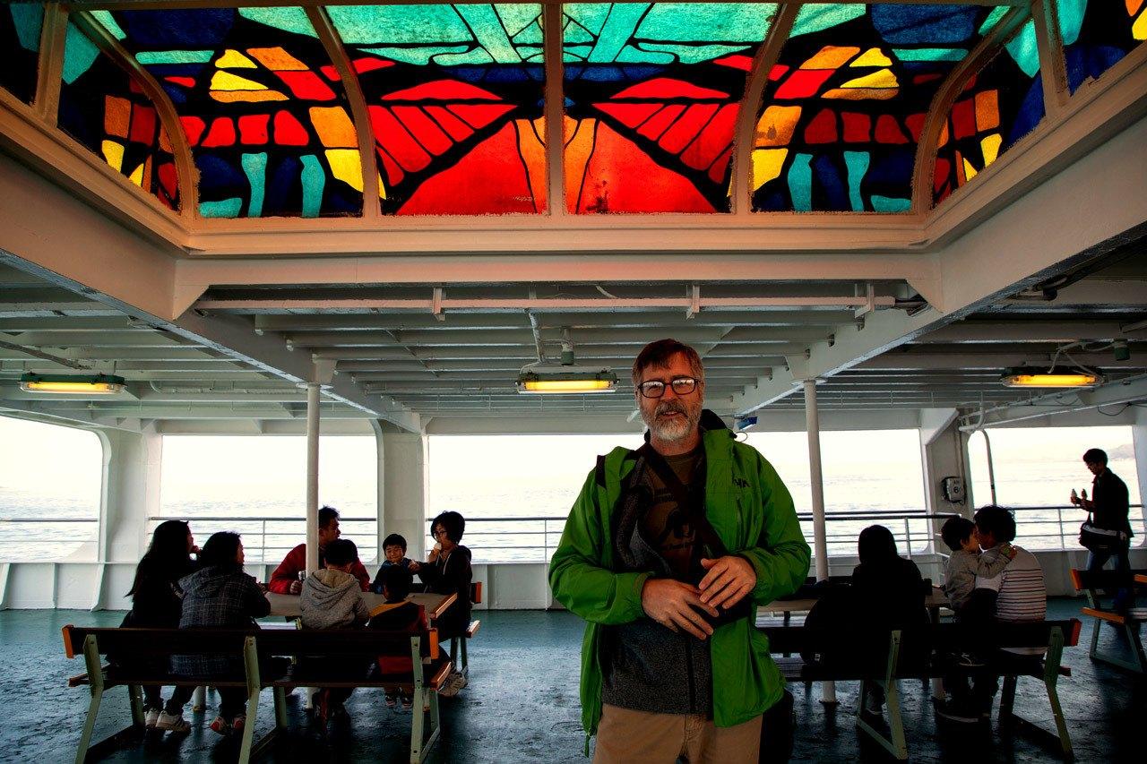 Jim taking the ferry to Nokogiriyama and the Boso Peninsula