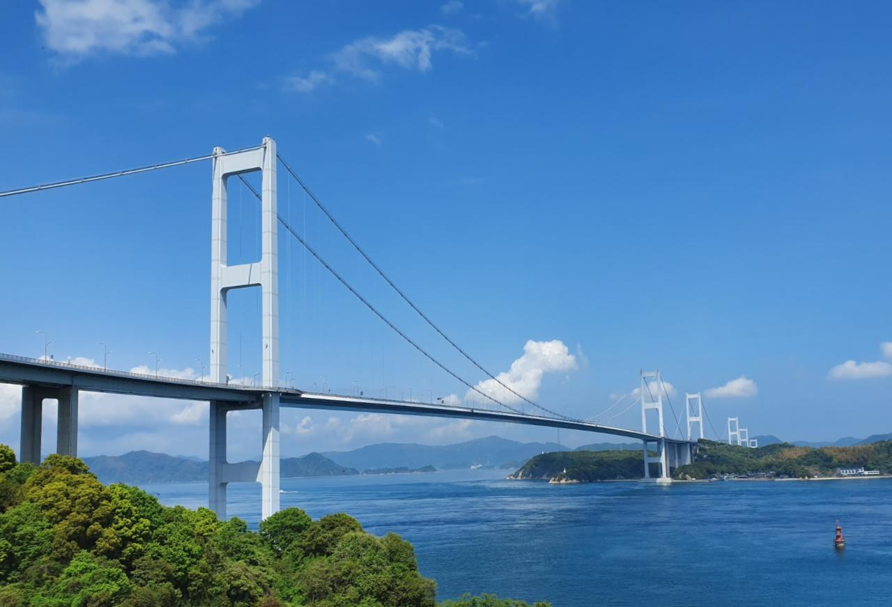 Springtime in Japan, the bridge to go over on the Shimanami Kaido Bike Ride