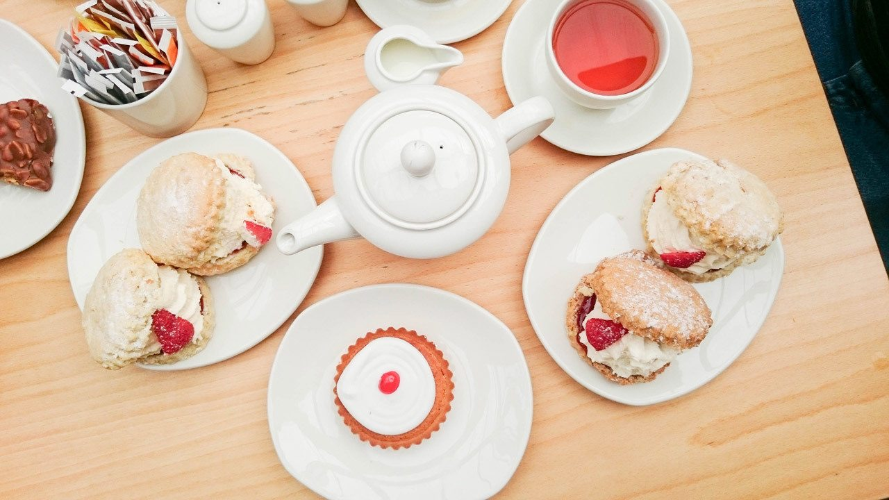 Tea and Scones and bakewell tarts - best british food ever
