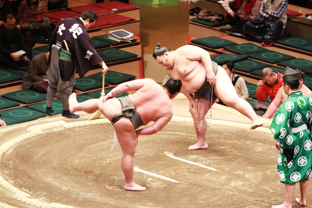 Competitors completing the ritual before the Sumo match begins