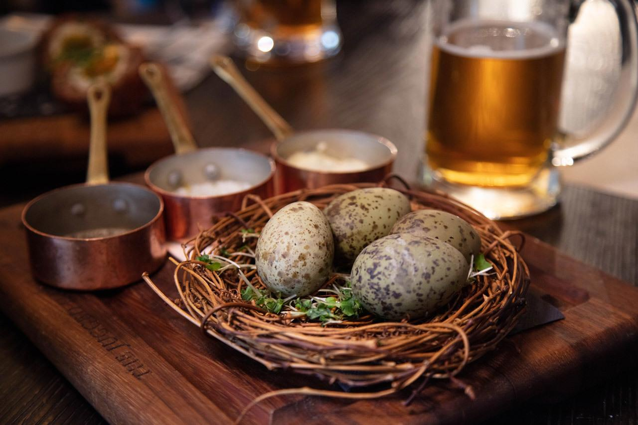 Traditional English food includes these Gull's Eggs