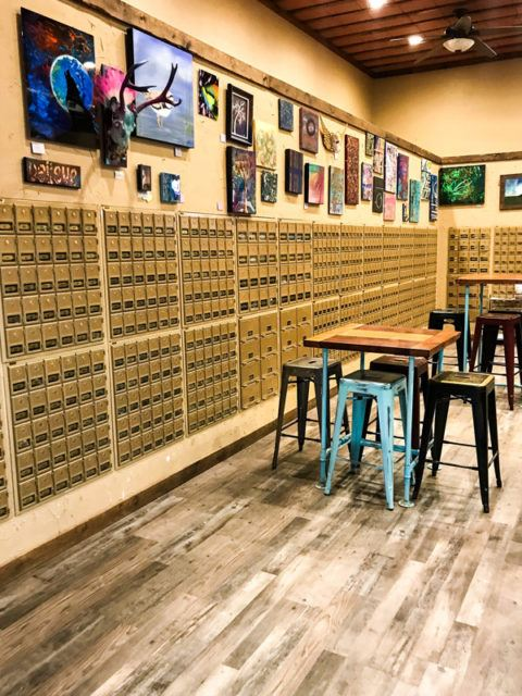 Interior of Door 204, coffee shop and mailboxes in Watford City, ND