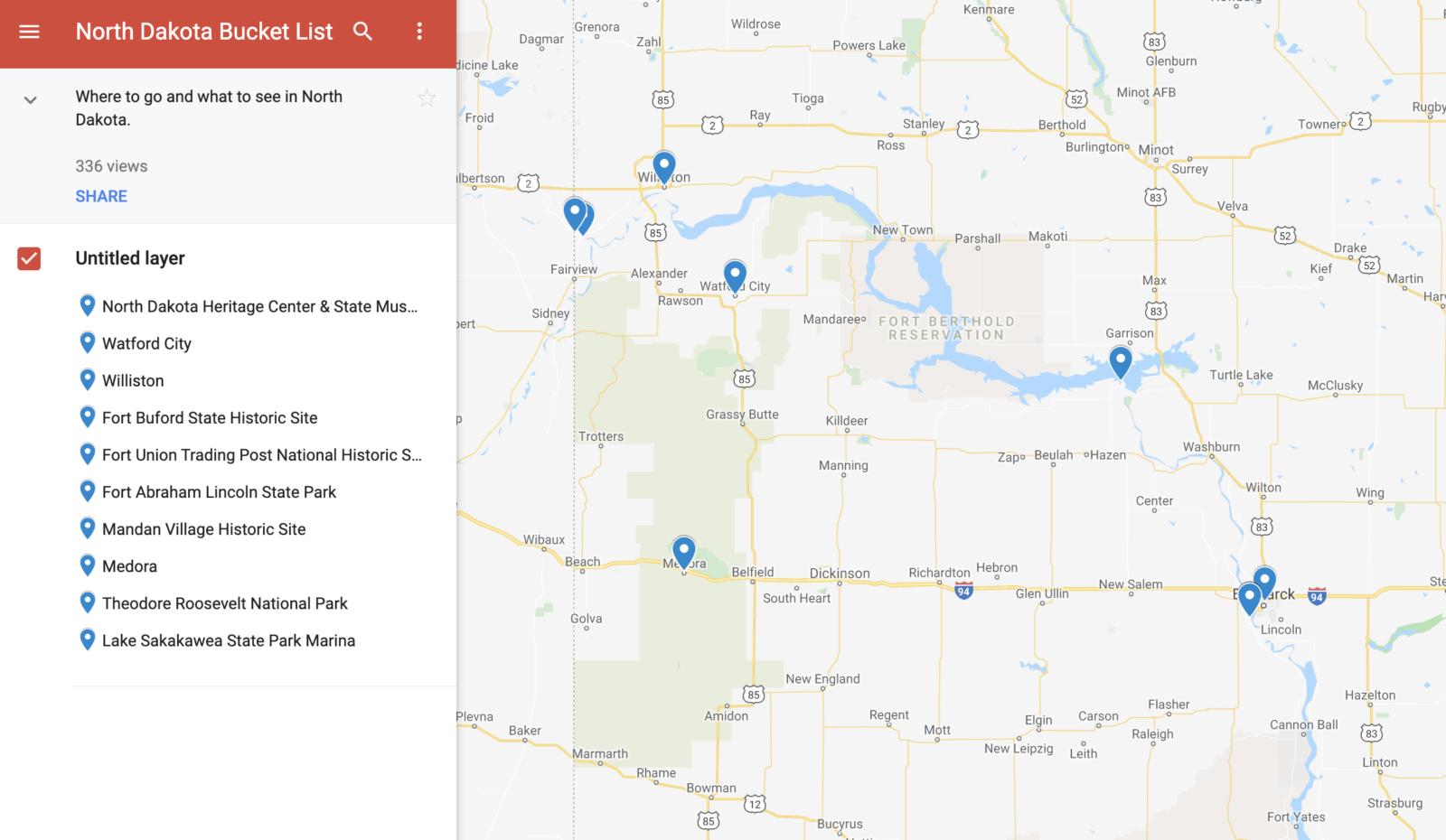 North Dakota Bucket List Map