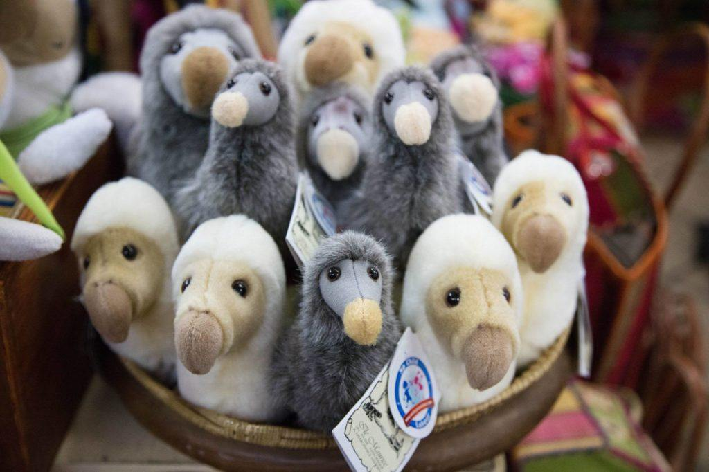 Stuffed toy dodo birds in a basket.