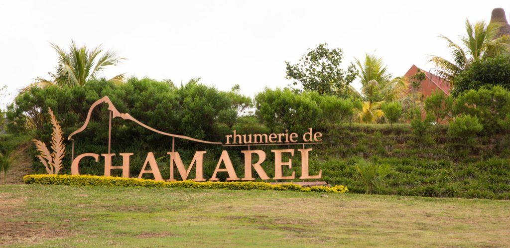 Sign for the Rhumerie de Chamarel.