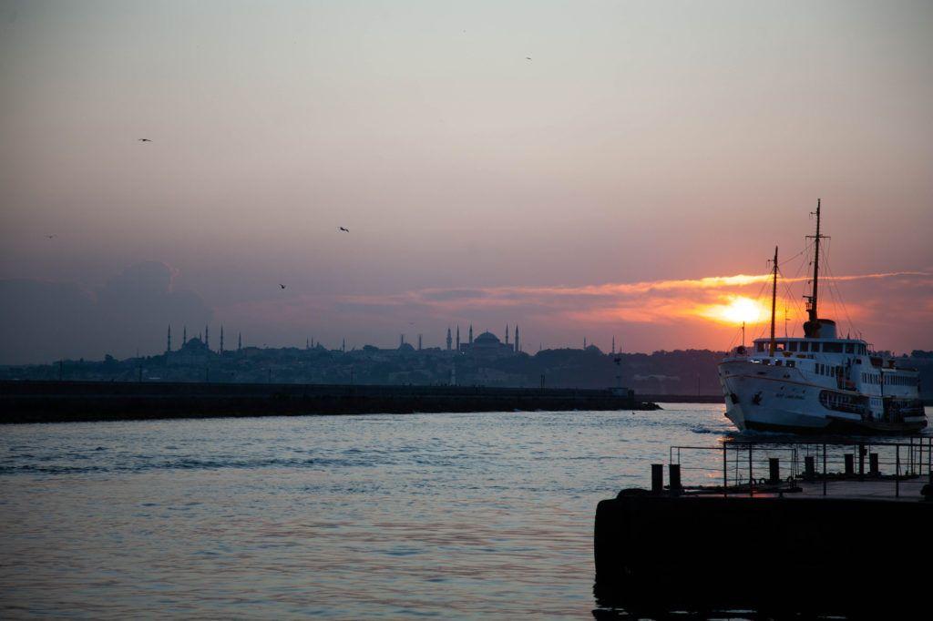 Turkish ferry at sunset.
