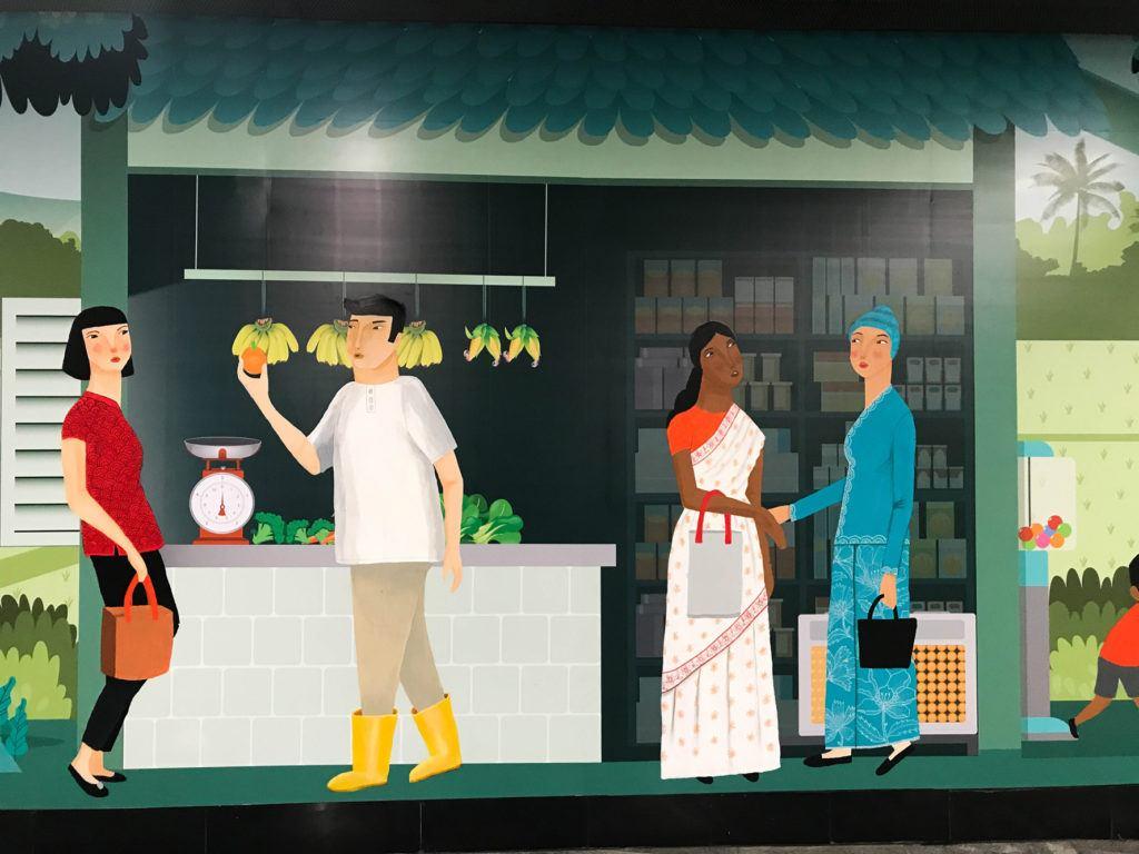 Внутри KL Sentral Station находятся эти удивительные настенные росписи.  Этот показывает продавца и клиентов. Куала-Лумпур Куала-Лумпур Malaysian Mural 1 1024x768