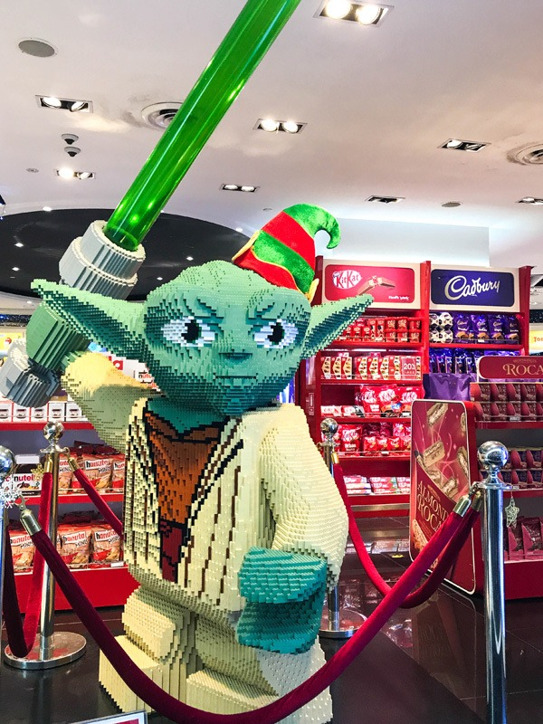 Yoda, made out of legos, at the airport in KL.