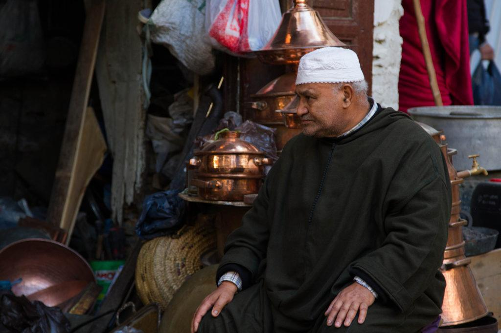 Copper Vendor in the Fez Souk.
