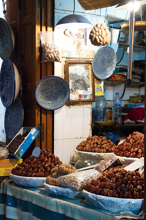 A shop in Fez Morocco selling Dates, nuts, and more dates.