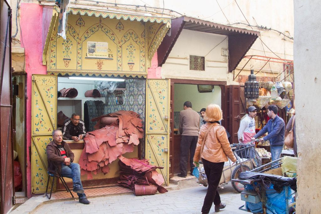 Local leather from the tanneries is sold in the Fez Souk; the souk and tanneries of fez are economically connected.