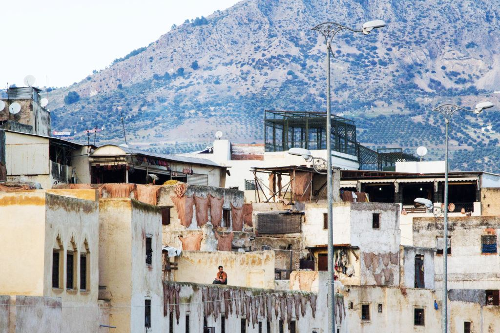 Fez Tanneries are a must see; this one has pelts hanging on walls to dry.