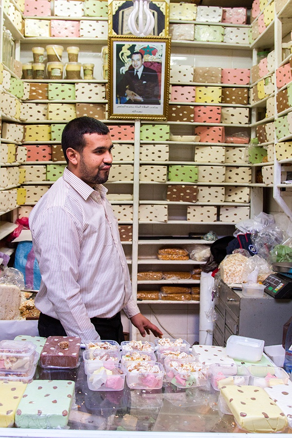 Colorful sweet nougat is one of the millions of things you can find in the Fez souk.